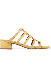 BY FAR Grid suede sandals