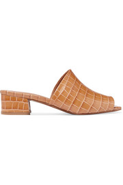 BY FAR Scandi croc-effect leather mules