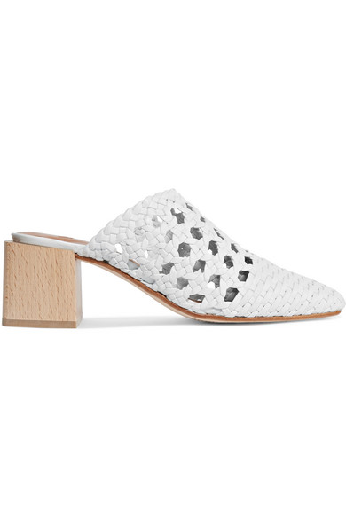 LOQ Ines Woven Leather Mules in White