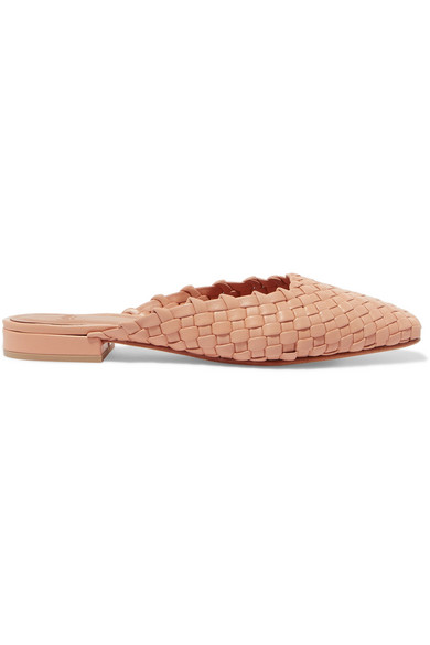 LOQ GALIA WOVEN LEATHER SLIPPERS