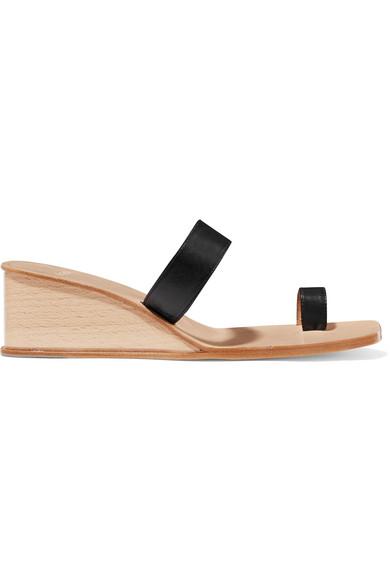 LOQ Cadiz Leather Wedge Sandals in Black