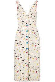Printed cotton-blend faille midi dress