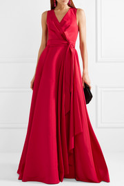 Gathered silk-faille gown