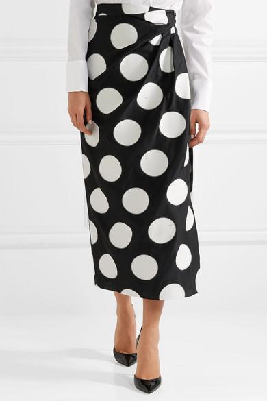 Carolina Herrera Midikleid aus glänzendem Jacquard mit Polka-Dots und Raffung