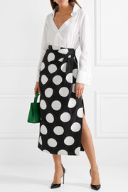 Gathered polka-dot satin-jacquard midi skirt