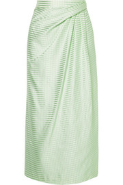 Gathered gingham silk-satin jacquard midi skirt