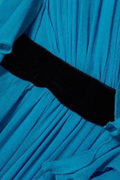 Jenny Packham Gerüschte Robe aus Seidenchiffon mit Samtbesatz Schnelle Lieferung 8BOTPs7xM