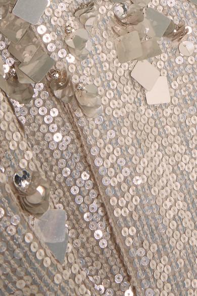 Jenny Packham Geraffte Robe aus Seidenchiffon mit Verzierungen
