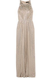 Jenny Packham Gathered embellished silk-chiffon gown