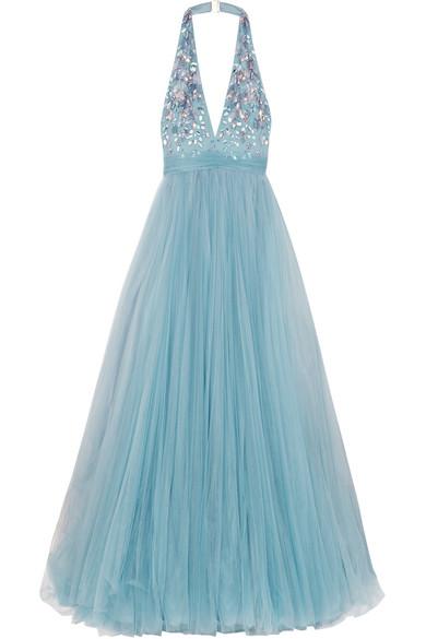 Jenny Packham | Embellished tulle halterneck gown | NET-A-PORTER.COM