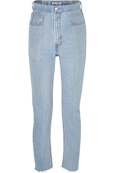 E.L.V. DENIM The Twin Two-Tone High-Rise Straight-Leg Jeans in Blue