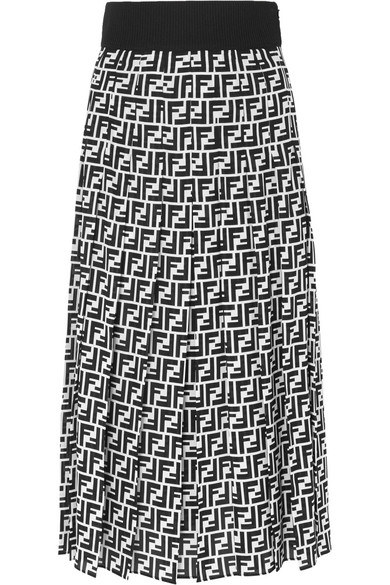 Printed Silk Georgette Midi Skirt by Fendi