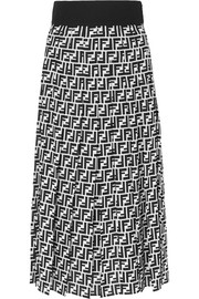Fendi Printed silk-georgette midi skirt