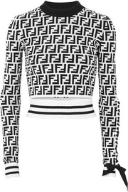 Fendi Grosgrain-trimmed cropped jacquard-knit top