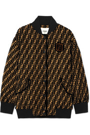 Fendi Oversized flocked silk-blend jacquard bomber jacket