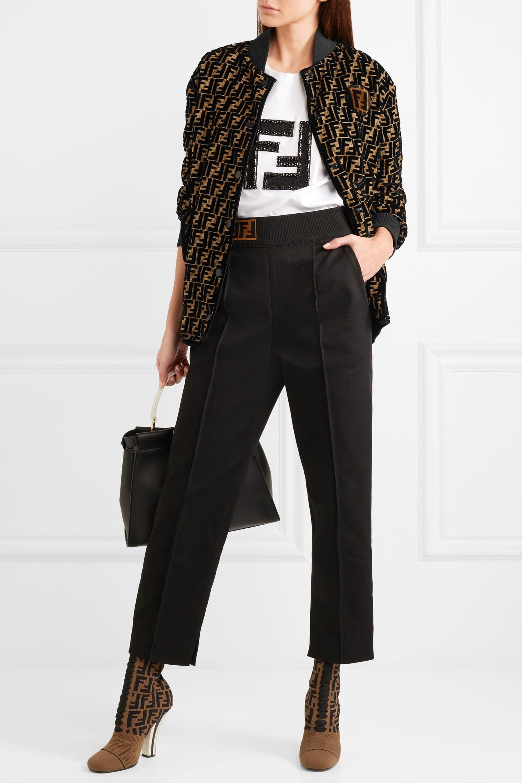Fendi Oversized flocked silk-blend jacquard bomber jacket