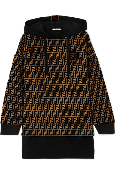 Flocked Silk Blend Jacquard And Jersey Hooded Top by Fendi