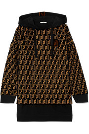 Fendi Flocked silk-blend jacquard and jersey hooded top
