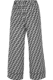 Fendi Cropped printed silk crepe de chine wide-leg pants