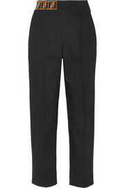Fendi Jacquard knit-trimmed twill straight-leg pants