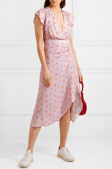 Marinette Gathered Floral-print Satin-jacquard Dress - Purple Paul & Joe BIY9EQ