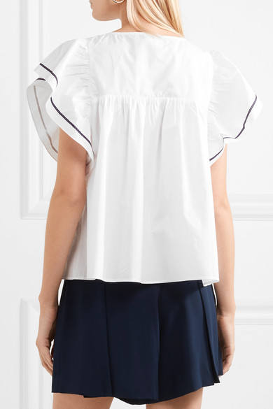 Pipa Ruffled Cotton Blouse - White Paul & Joe Sale Factory Outlet Shipping Discount Sale Low Cost Cheap Online Outlet Hot Sale JcfXjUJ