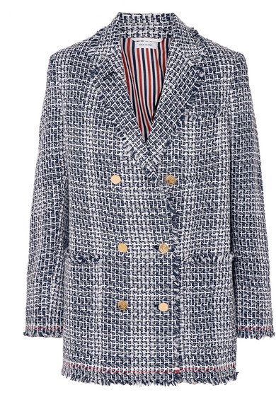 593d6c467a Thom Browne | Double-breasted frayed cotton-blend tweed blazer | NET ...