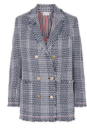 Thom Browne Double-breasted frayed cotton-blend tweed blazer