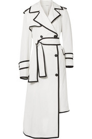 Asymmetric grosgrain-trimmed shell trench coat