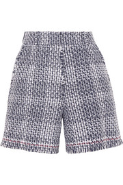 Frayed cotton-blend tweed shorts