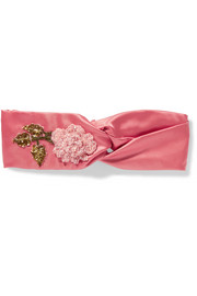 Appliquéd silk-satin headband