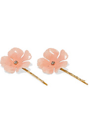 Faye set of two gold-plated Swarovski crystal hair slides