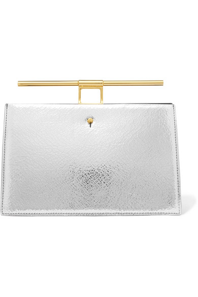THE VOLON Chateau mini Clutch aus strukturiertem Leder und Craquelé-Leder in Metallic-Optik