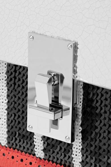 THE VOLON Data Schultertasche aus strukturiertem Leder mit Pailletten