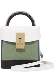 Lunchbox color-block textured-leather shoulder bag