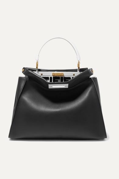 Peekaboo Mini Leather Tote in Black
