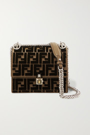 Fendi Kan I small flocked leather shoulder bag