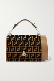 Fendi Kan I flocked leather shoulder bag