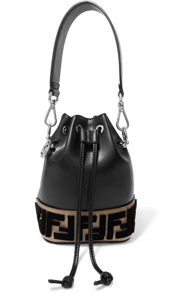 Fendi. Montresor mini flocked leather bucket bag c52dafc11a371