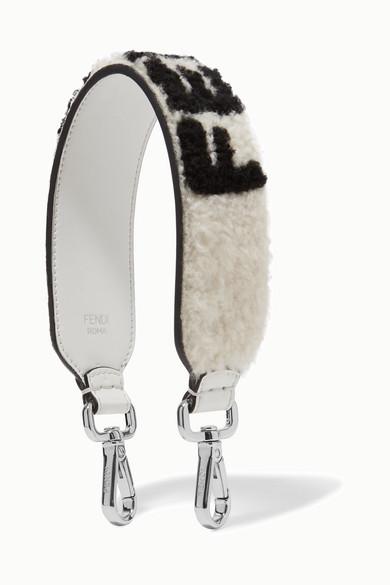 Fendi - Logo-print Shearling And Leather Bag Strap - White