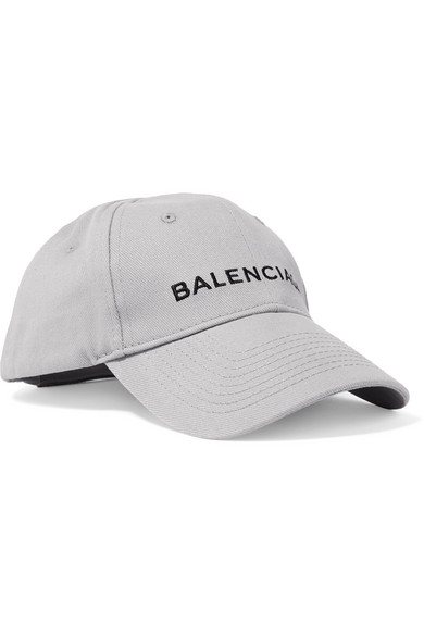 70f3f67f99ad4 Balenciaga Embroidered Cotton-Twill Baseball Cap In Gray