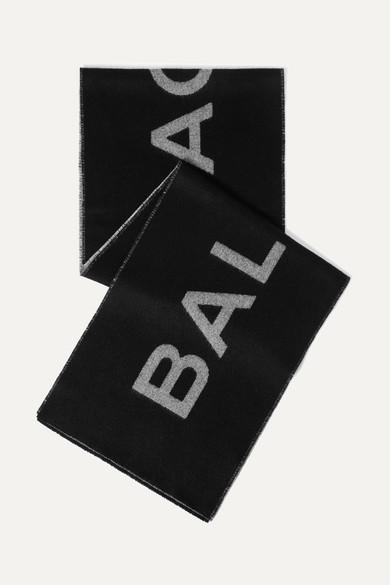 Ladies Black And White Logo Jacquard Wool Scarf