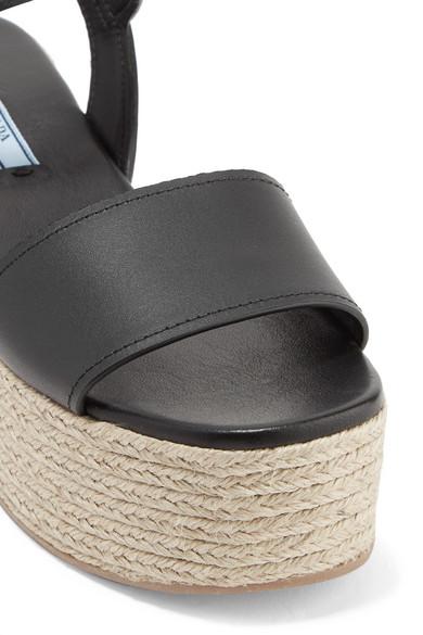 Prada Espadrille-Sandalen aus Leder mit Plateau