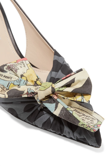 736c5a34e38e Prada. Bow-embellished leather and printed canvas slingback pumps. $445.  Play