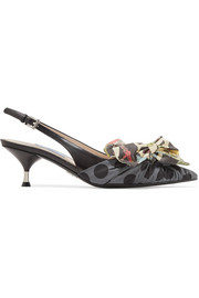 Prada Bow-embellished leather and printed canvas slingback pumps