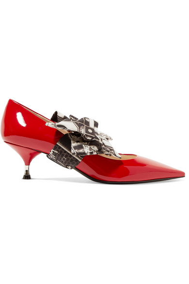 Prada Pumps Made Of Patent Leather With Printed Georgette-painting And Decorating