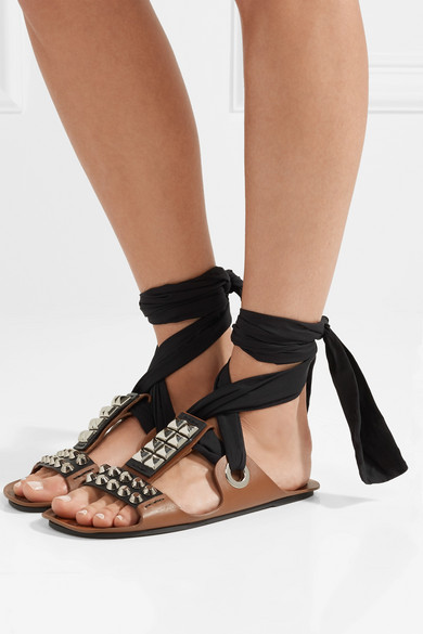 Prada Sandals Of Leather And Canvas With Rivets