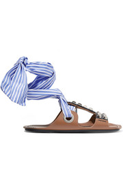Prada Studded leather and canvas sandals