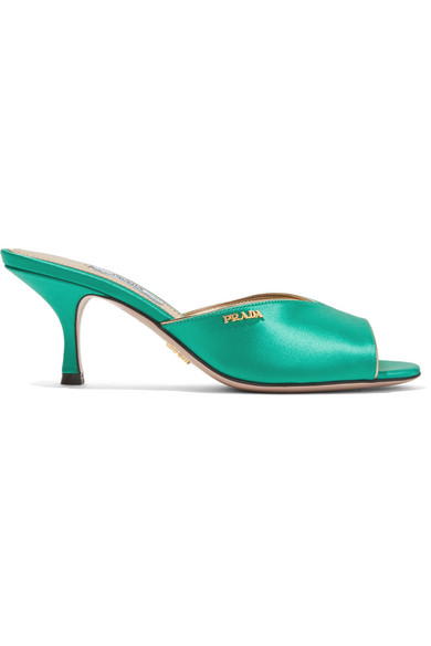 Prada - Logo-embellished Satin Mules - Jade