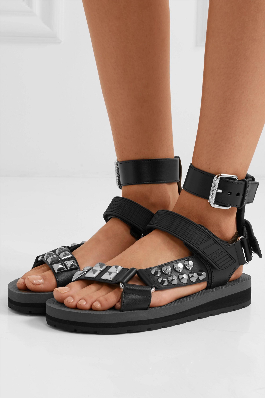 Black Studded leather sandals | Prada